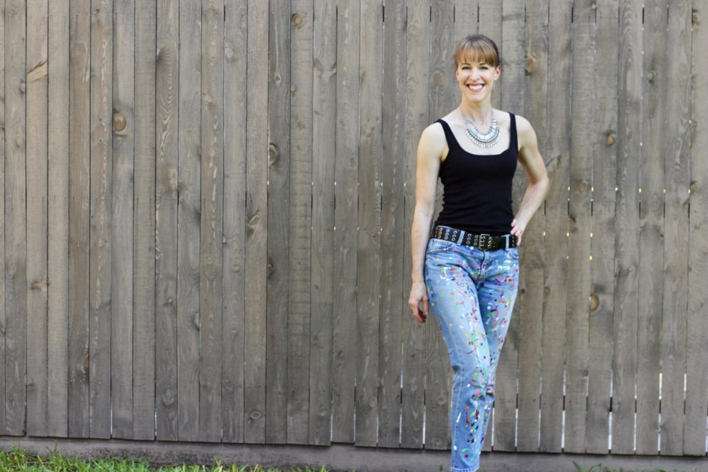 Modeling painted jeans by Jennifer Cowley